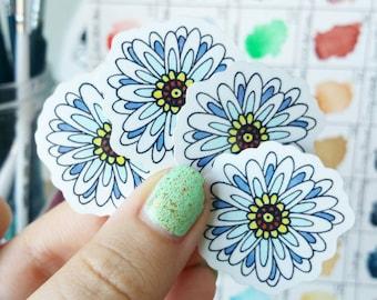 Daisy - Mini Vinyl Stickers Waterproof Flower Sticker Set Laptop Planner Sticker Skateboard Decal