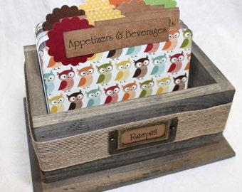 RECIPE BOX, Dividers, Recipe Cards, Rustic Recipe Box, Owl Dividers, Barnwood Box, Wooden Recipe Box, Owls, Nature, Trees, Burlap