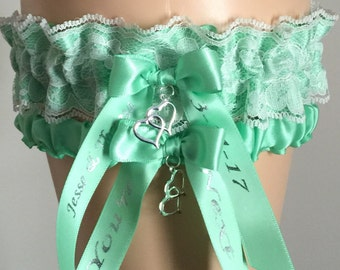 Mint Green and Ivory Lace Wedding Garter Set, Bridal Garter, Prom Garter, Ivory Lace Garter, Keepsake Garter, Personalized Wedding Attire