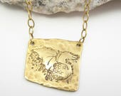 Happy Dragon in Red Brass on Brass Chain and 14kt Gold-Filled Clasp