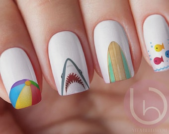 Shark Water Decal, Beach nail decal,Nail Decal, Surf Board Nail, Beach Ball Decal, School Of Fish, Shark Decal, Gift for Her