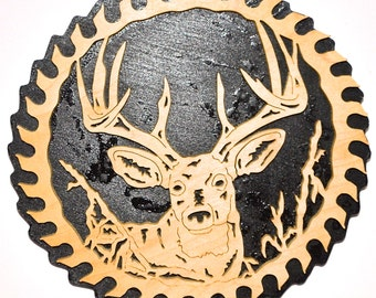 Saw Blade White Tail Deer Scroll Saw Wall Plaque