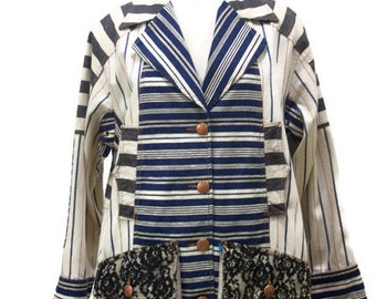 Vintage 1990s Jeans By Christian Lacroix Striped Stylish Jacket With Lace Details