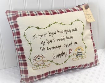 Decorative Hand Stitched Pillow  - Throw pillows with saying - Decorative throw pillow for Grandma - Hand embroidery pillow design