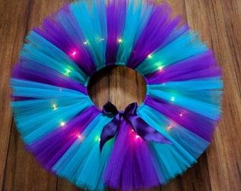 Purple & Teal LED Light Up Tutu - Purple Teal Light Up Tutu - Birthday Light Up Tutu - Rave Tutu - Adult Light Up Tutu