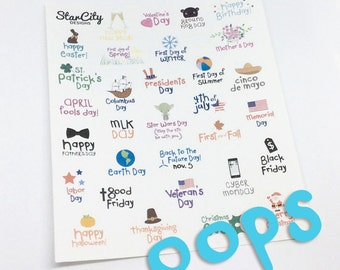 Holiday Stickers, Oops Holiday Planner stickers, oops stickers, Holiday Planner stickers, planner supplies, discount stickers