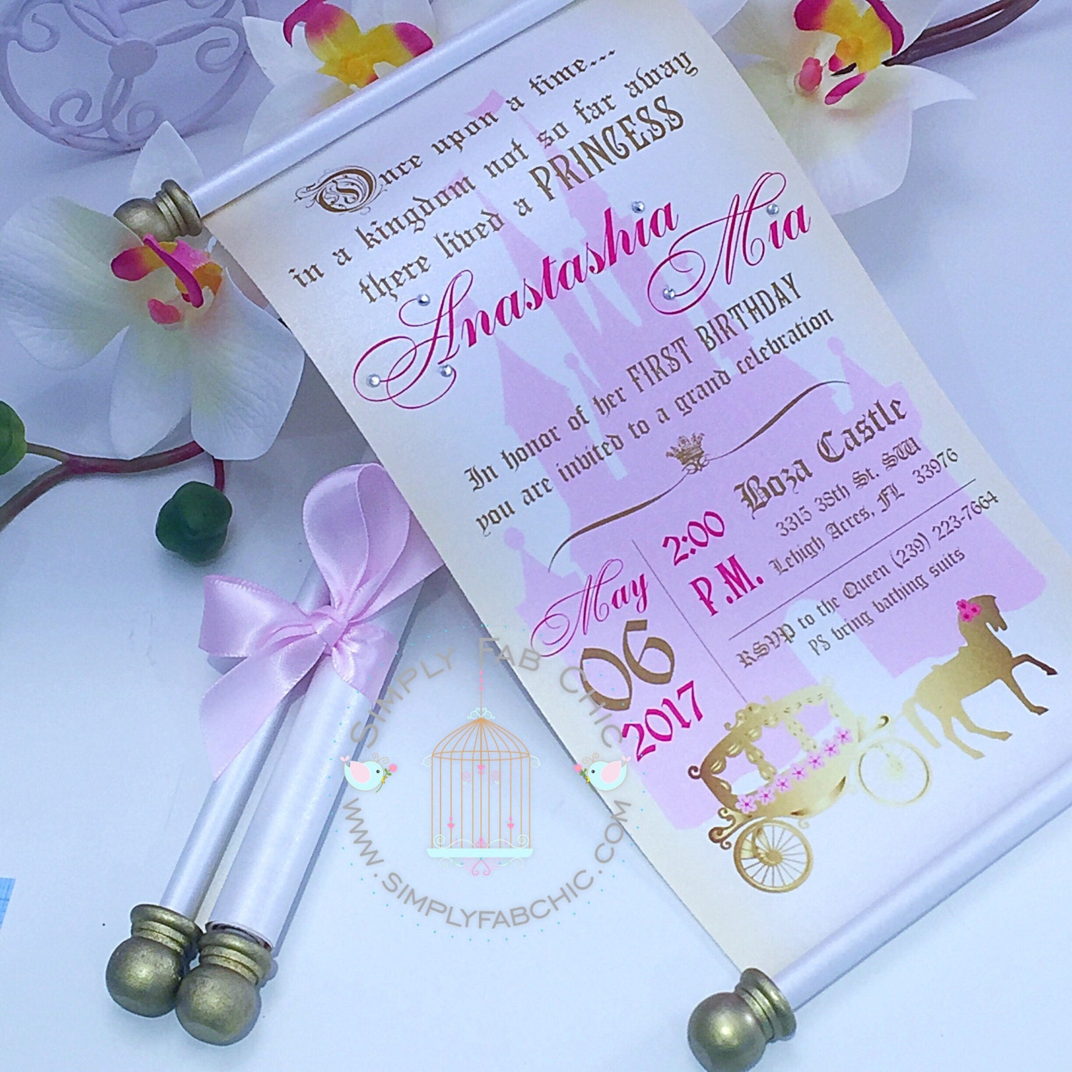 Royal Princess Carriage Scroll Set of Wedding Invitation