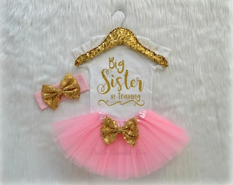 Baby Girl Big Sister in Training, Light Pink and Gold with, Tutu Headband Set, Short and Long Sleeve Bodysuit Tshirt 332