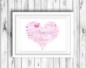 Printable Digtal Download, Personalised Heart Word Art, Personalised Print, Nursery Print, Baby Gift, Naming Day, Baby Keepsake, Communion