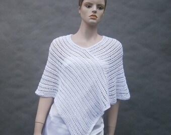 Solange white - beautiful, summer, spring, wine-colored universal handmade poncho