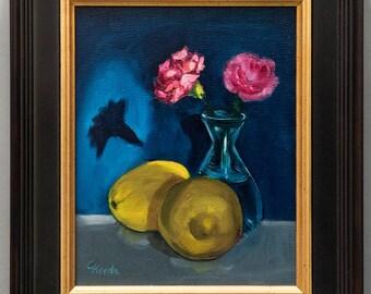 "Original Oil Painting / ""Nocturne With Lemons & Carnations""/ Framed Still Life /Frame ca. 13,58"" x 11,61"""