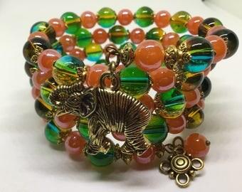 Orange and Green Czech glass beaded Cuff Bracelet.