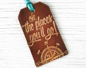 Luggage Tag Graduation Gift Dr Seuss Quote, Leather Oh, The Places You'll Go, Compass Travel Gift Stocking Stuffer Dr Suess, you will go