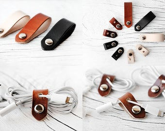 Cord Organizer SET OF 3 Leather Cord Organizers for Headphones and Power Cords - Travel Gift Set iPhone Lightning Charger Cord Keeper Holder