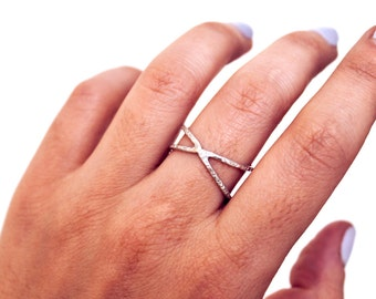 Sterling Silver Criss-Cross Ring   Hammered Texture   Simple, Minimalist, Jewelry Staple   Free Shipping on orders 30+