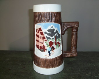 Vintage Large Ceramic Stein Skiing Winter Lodge Snow Mountain Barware Glass Mug