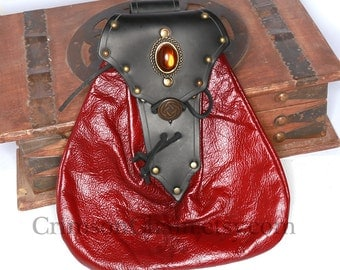 Red Leather Fancy Button Sporran by Crimson Chain leatherworks - SCA Larp Renactment Garb Costume