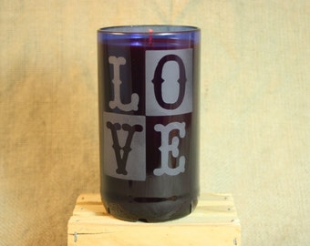 Candle Upcycled From Cobalt Blue Wine Bottle, LOVE Candle, Recycled Wine Bottle, Sandblasted Glass Bottle, Home Decor