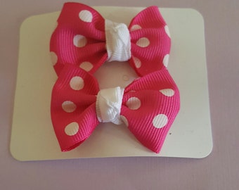 Hot pink with white dots set of 2 small bows for little girls