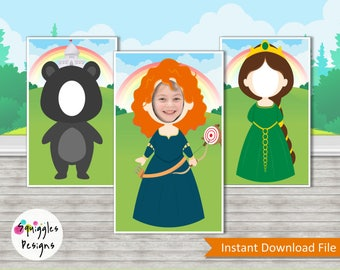 Merida Brave Photo Booth Props (includes Merida, Queen Elinor and Baby Bear) - Digital Files