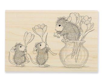NEW RELEASE Stampendous House Mouse Flower Arranging Wood Mounted Rubber Stamp