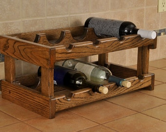 red oak 8-bay wine rack dark walnut stain
