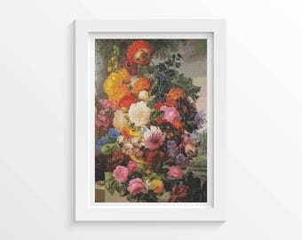 Floral Cross Stitch Kit, Grandmother's Bouquet Cross Stitch, Embroidery Kit, Art Cross Stitch, Joseph Nigg (NIGG01)