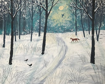 Fox in English landscape in winter, original acrylic painting on canvas by Jo Grundy