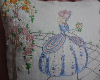 Southern Belle Cushion Pillow Cover Shabby Country Vintage Upcycled Repurposed / Removable Down Feather Insert
