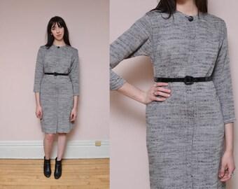 80s Gray Minimal Dress M Woven Dolman Sleeve Shirt Dress Work Dress Space Age Futuristic Secretary Dress Spring Dress Retro 40s Midi Dress