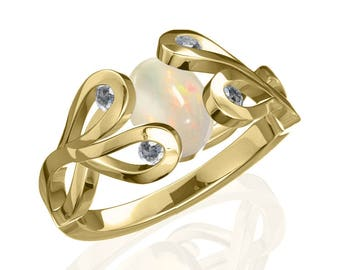 8x6mm Australian Precious White Opal Ring w/ 0.12ct Diamond in 14K or 18K Gold SKU: R2389
