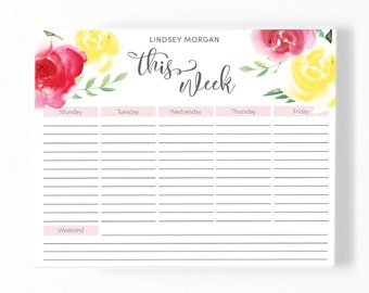 Personalized Weekly Planner Desk Pad with Illustrated Pink and Yellow Watercolor Rose Design  [17120]