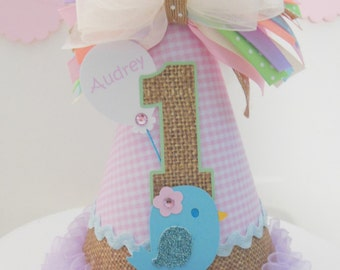 Lil' Birdie Burlap and Pink Gingham Birthday Party Hat - Pastels - Light Yellow, Blue, Pink, Cream and Burlap- Personalized
