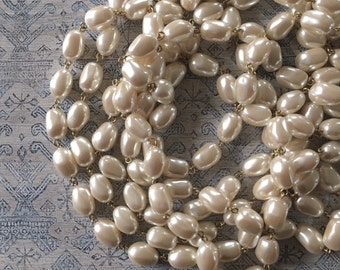 Vintage Baroque Pearl Chain, Cream Pearl Chain, 14mm, 2Ft