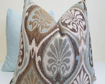 Brown, Gold, Cream, Aqua Sunbrella Pillow Cover - Aura Ocean Sunbrella - Sunbrella outdoor Cushion - Sunroom Pillow- sunbrella lumbar pillow