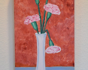 Pink Carnation in White Vase 10x20 original acrylic on canvas