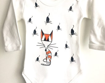 Baby girl bodysuit, coming home outfit, unique infant present, hipster children clothes, kitty mice babygrow