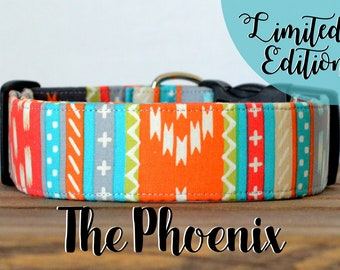 "Limited Edition Modern Colorful Aztec Inspired Dog Collar ""The Phoenix"""