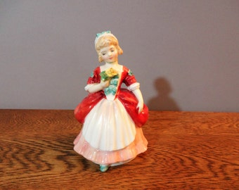 "Royal Doulton ""Valerie"" FIgurine - H N 2107- Bone China 18th Century Girl with Yellow Rose Figurine - 1952 - Limited Edition -Mint Condition"