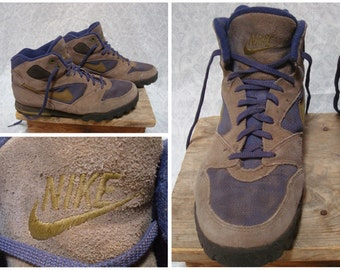 Vintage Retro Men's 90's Nike Hiking Boots Purple Gold Brown Leather Ankle Boots size 10.5 Womens size 12