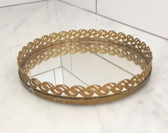 Gold Vanity Tray, Round Mirrored Vanity Tray, Gold Filigree Vanity Tray, Small Round Tray, Wedding Decor