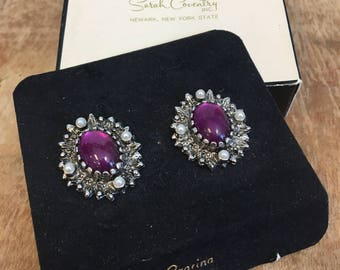 Vintage Sarah Coventry 1970's Czarina 7404 Purple Moonstone Clip on Earrings