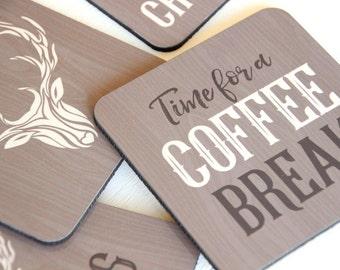 Coffee Coaster Set of 4 // Coffee Lovers Gift, Rustic Drink Coasters // Deer Coasters, Cork Coaster // Rustic Home Decor