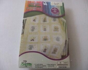 BABY QUILT BLOCKS/Baby Quilt Kit/Stamped Quilt Blocks/Janlynn 998-4008/12 Quilt Blocks 9 Inches x 9 Inches/Baby Designs