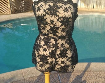 Samye Made in USA Vintage Black Lace Teddy Bodysuit Lingerie Size Large