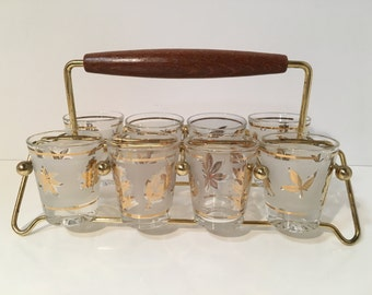 Retro Barware Shot Glasses Frosted/Gold  Leaf Pattern Wooden Handle 1950s includes Caddy