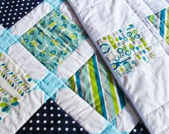 Handmade modern baby quilt gender neutral, newborn baby gift, ooak gift, baptism gift, aqua-navy quilt, organic cotton quilt