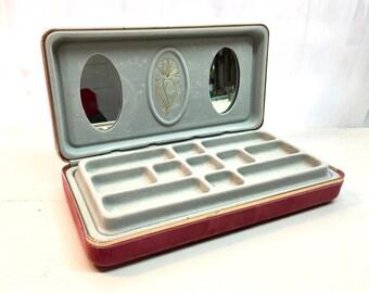 Vintage Jewelry Case Travel. Velvet. Divided. Mauve Pink Gold.