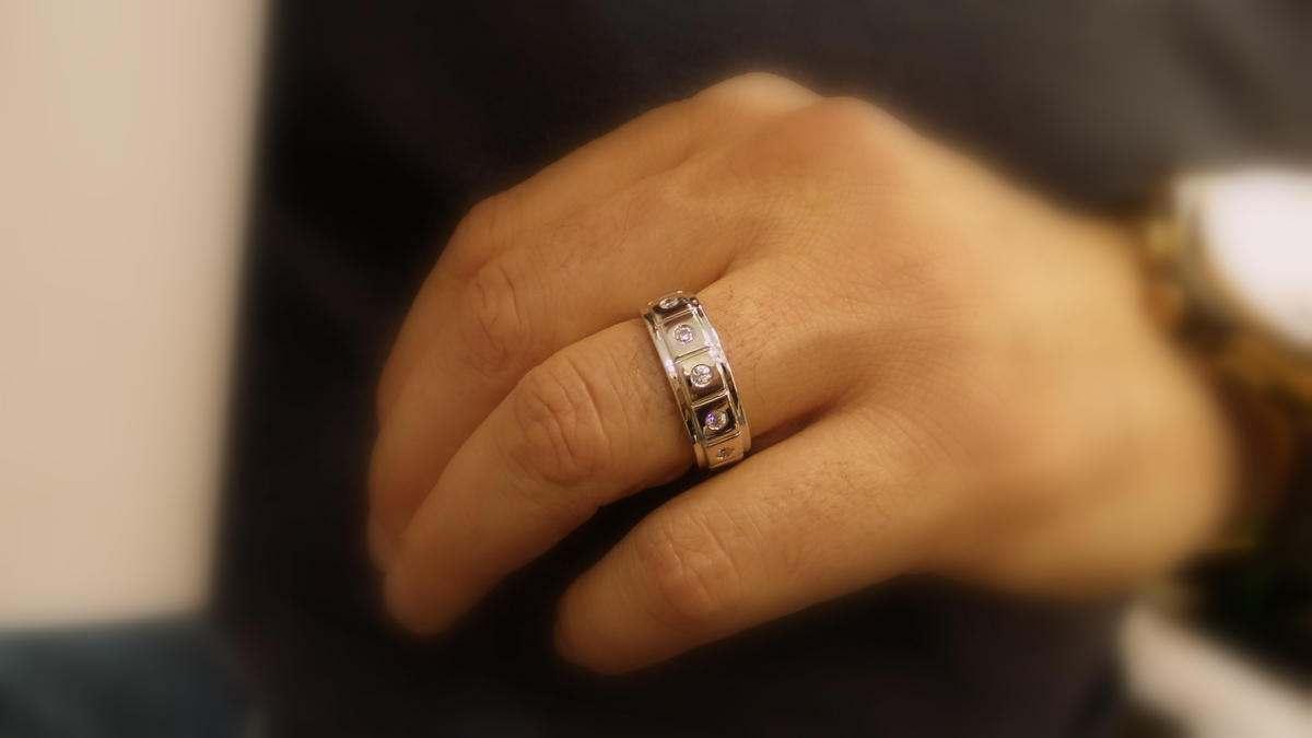 diamond mens wedding band / 14 k men s wedding ring with 0.25 ct