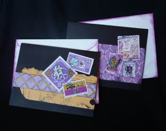 Purple and Gold, Elegant Handmade Greeting Cards, set of 2. Postage Stamps, Snail Mail, Mother's Day, birthday, graduation, all occasion